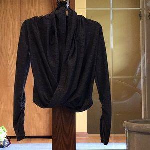 Girl's Ivivva Black/Grey Cross Over Sweatshirt